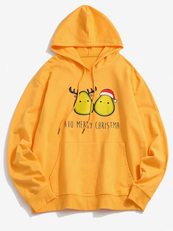 Christmas Avocado Print Kangaroo Pocket Hoodie - الأصفر 2XL