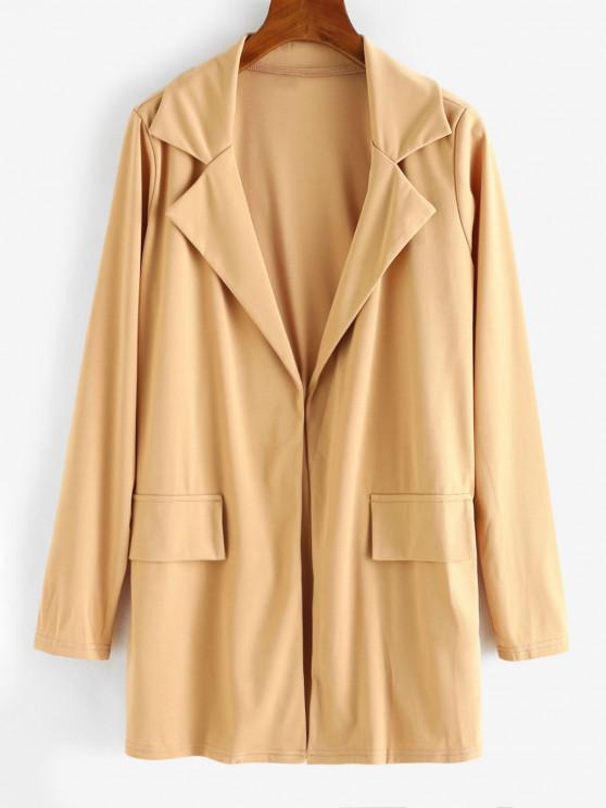 fashion Open Front Flap Detail Tunic Blazer - LIGHT COFFEE M
