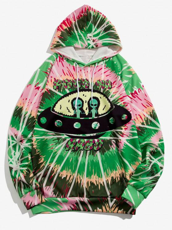 ET UFO Spiral Krawattenfärbender Druck Hoodie - Mittlerer Frühling Grün 2XL
