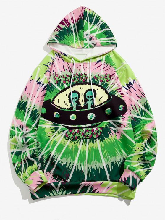 ET UFO Spiral Tie Dye Print Hoodie - تفاحة خضراء XL