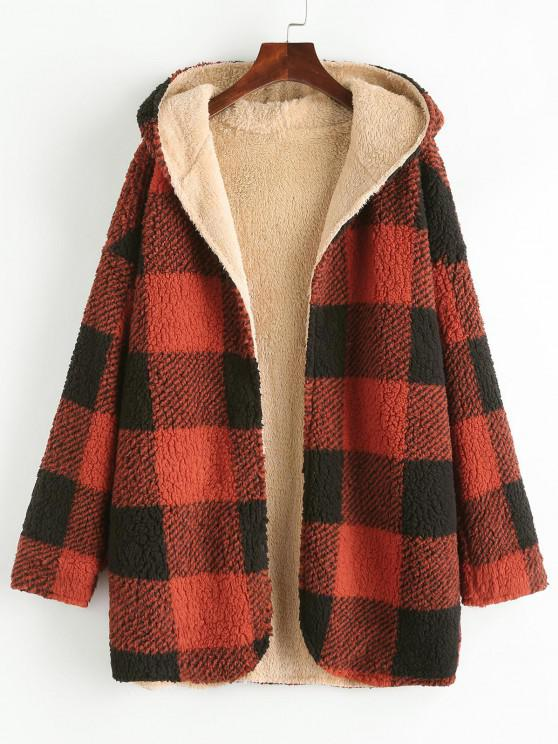 Hooded Checked Fluffy Borg Teddy Reversible Coat - أحمر M