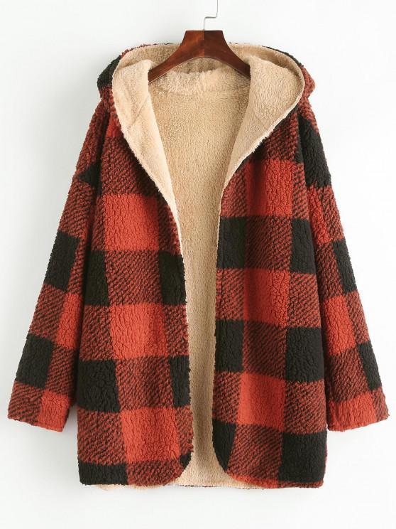 Hooded Checked Fluffy Borg Teddy Reversible Coat - أحمر L