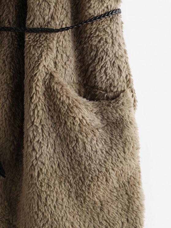 Hooded Fluffy Open Front Pocket Waistcoat - Gray   ZAFUL