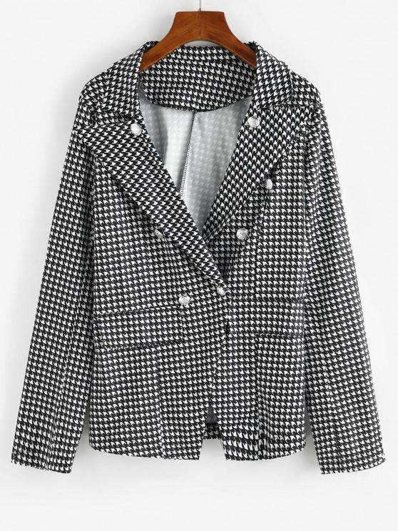 ladies Houndstooth Double Breasted Flap Detail Blazer - BLACK L