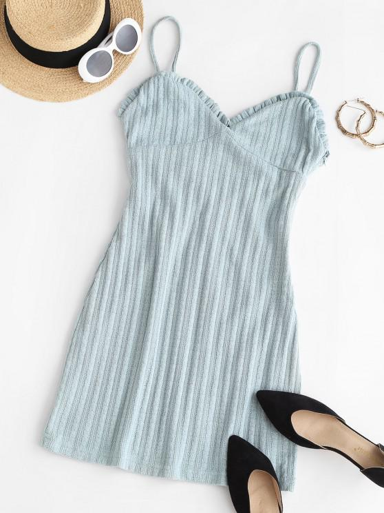 latest Cable Knit Cutout Frilled Sheath Bustier Dress - BABY BLUE L