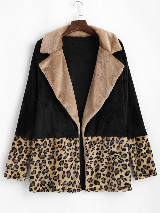 Plus Size Fluffy Leopard Panel Open Front Coat - أسود 2XL