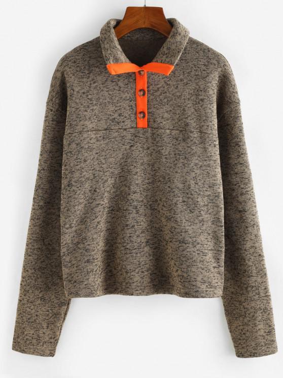 lady ZAFUL Contrast Binding Button Front Heathered Sweatshirt - COFFEE S