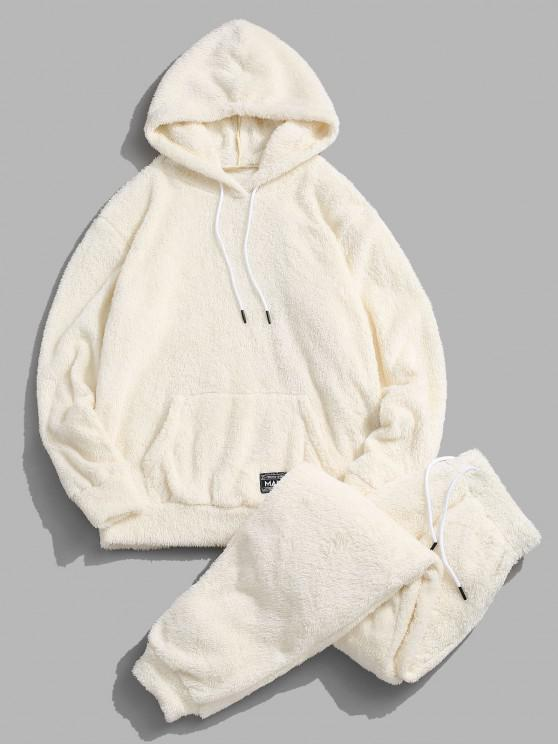 fancy Applique Detail Fluffy Hoodie and Pants Two Piece Set - WARM WHITE M