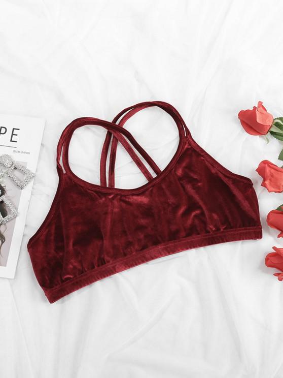 women Plus Size Velvet Dual Straps Crisscross Back Bralette - DEEP RED 1XL