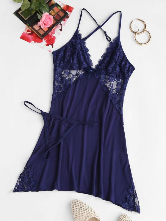 buy Lace Panel Plunge Lingerie Dress Set - DEEP BLUE L
