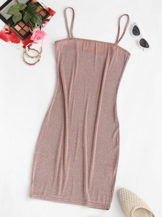 ladies ZAFUL Shiny Mini Slinky Party Dress - LIGHT COFFEE M