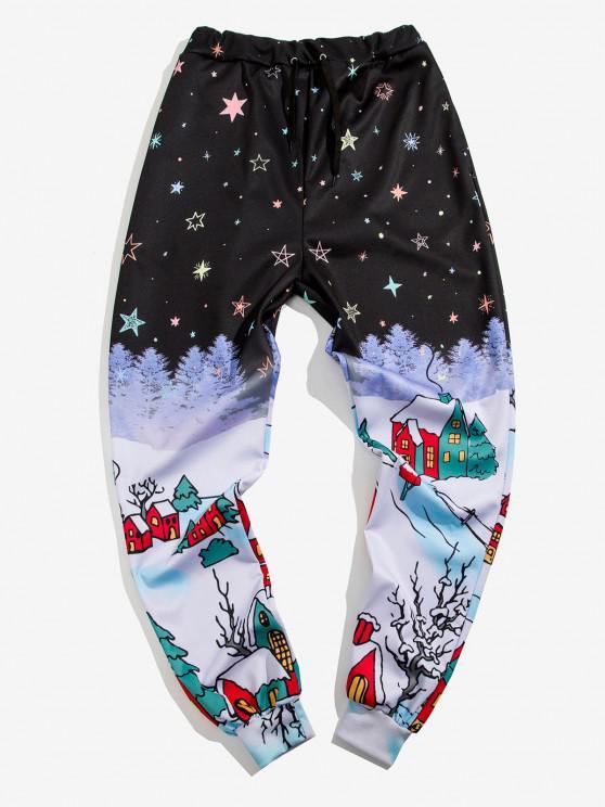 chic Starry Sky Village Print Sports Pants - BLACK XL