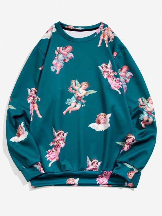 womens Angel Print Renaissance Art Sweatshirt - PEACOCK BLUE 2XL