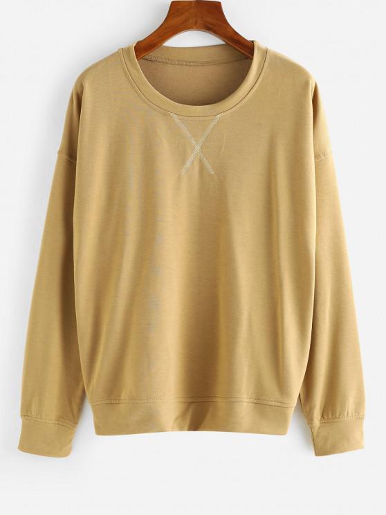 Drop Shoulder French Terry Pullover Sweatshirt - قهوة M