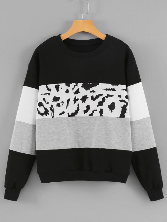chic Crew Neck Leopard Panel Colorblock Sweatshirt - BLACK M