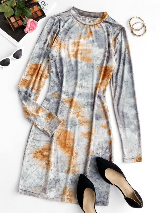 Mini Vestido Teñido de Terciopelo de Tie-dye con Cordón - Gris Claro XL