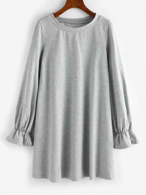 shops ZAFUL Poet Sleeve French Terry Sweatshirt Dress - LIGHT GRAY S