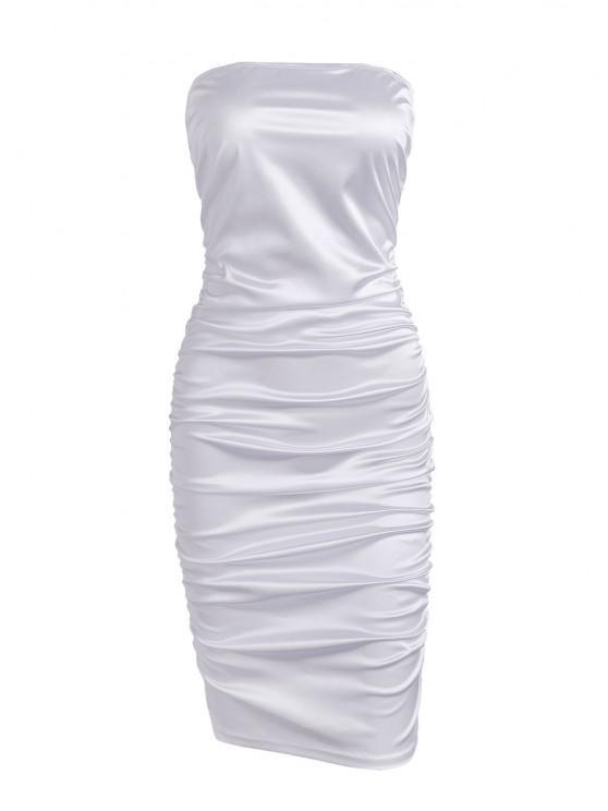 ladies Ruched Tube Bodycon Club Dress - WHITE L