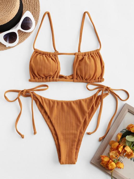 shop ZAFUL Textured Cutout Tie Side Tanga Bikini Swimwear - COFFEE S