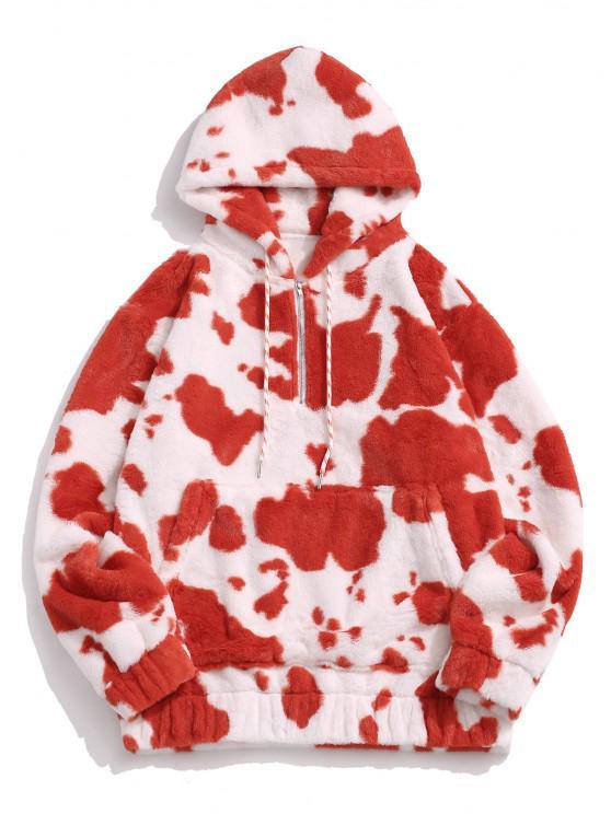 hot Cow Pattern Fluffy Half Zipper Hoodie - RED M