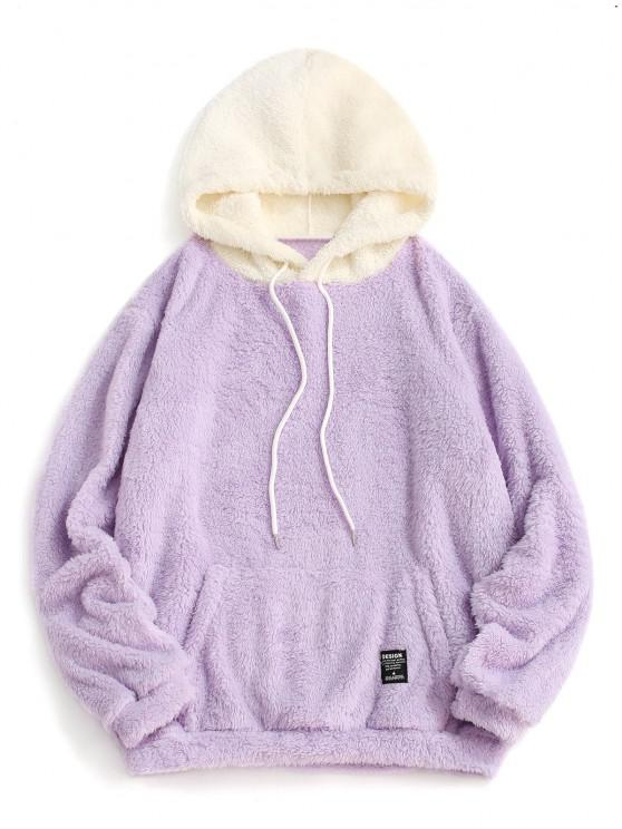 Sweat à Capuche Fourré Jointif en Blocs de Couleurs à Cordon - Mauve XL