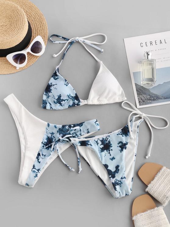 shops ZAFUL Halter Tie Dye Ribbed Three Piece Bikini Swimsuit - LIGHT BLUE M
