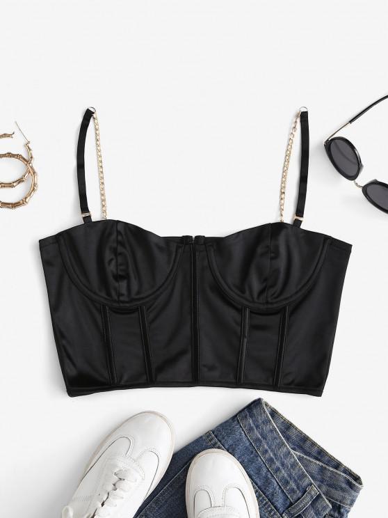 fancy Underwire Chain Straps PU Corset Crop Top - BLACK L