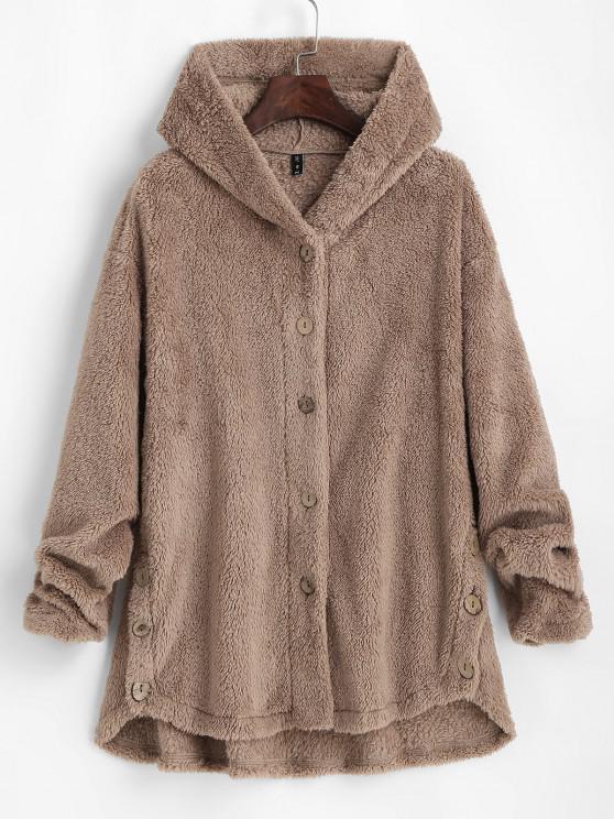 ZAFUL Fluffy Hooded Drop Shoulder Jacket - القهوة الخفيفة S