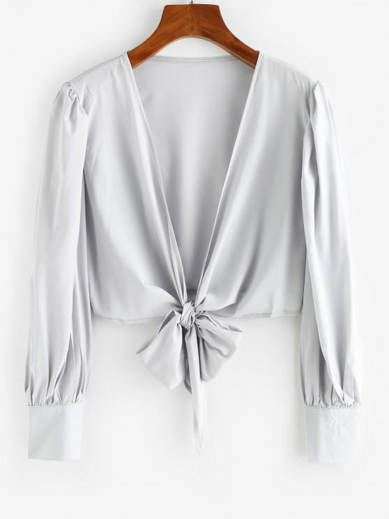 fancy Tie Front Puff Sleeve Crop Top - LIGHT GRAY M