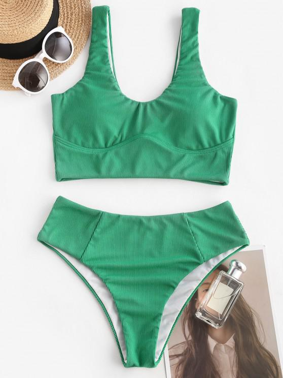 ladies ZAFUL Underbust Seam Ribbed Tankini Swimwear - DEEP GREEN S
