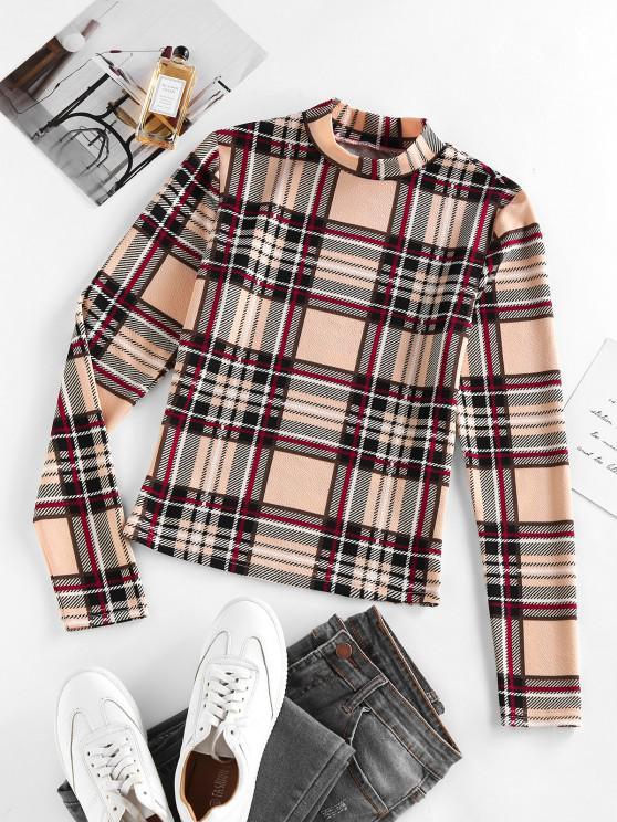 women's ZAFUL Plaid Mock Neck Fitted T Shirt - APRICOT M