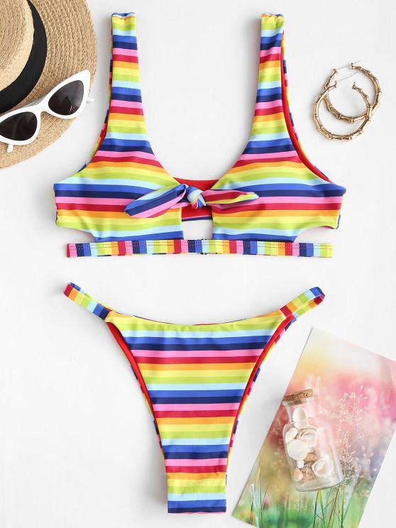 ZAFUL Striped Rainbow Knot Tank Bikini Swimwear - متعدد S