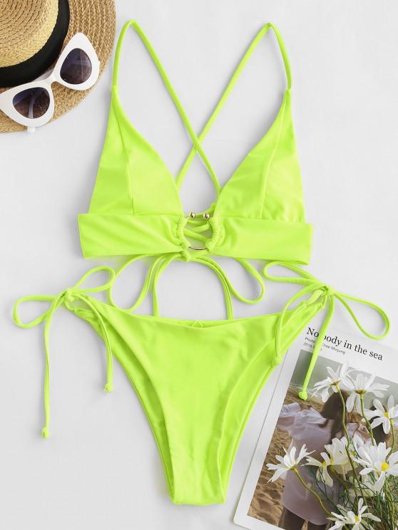 hot ZAFUL Neon U-bar Crisscross Lace-up Tie Side Bikini Swimwear - GREEN M