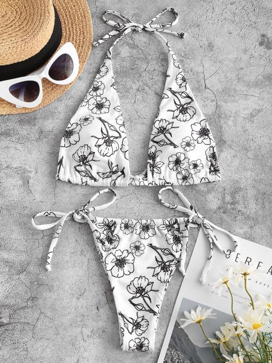 new ZAFUL Ribbed Flower Tie Side Tanga Bikini Swimwear - WHITE S