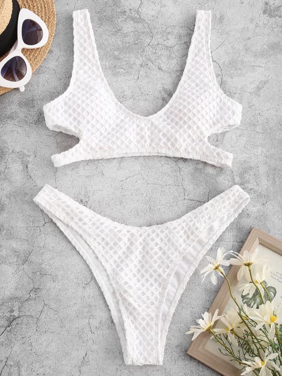 womens ZAFUL Fishnet Overlay Cutout Bikini Swimwear - WHITE S