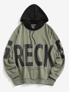Colorblock Letter Print Hoodie - Camouflage Green S