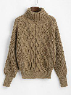 Turtleneck Chunky Cable Knit Sweater - Light Coffee