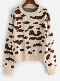 Leopard Animal Print Drop Shoulder Sweater - Light Coffee