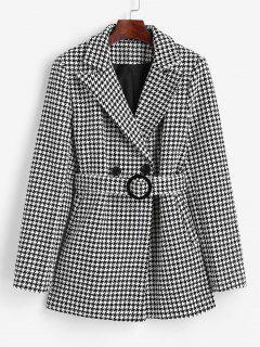 Blazer Tweed De Pata De Gallo Con Bolsillo Y Cinturón - Negro L