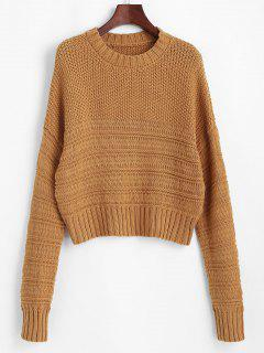 Chunky Mixed Knit Drop Shoulder Sweater - Light Coffee