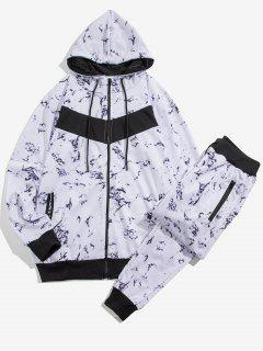 Marble Print Contrast Hoodie And Pants Two Piece Set - White Xs