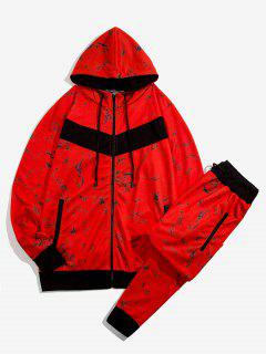 Marble Print Contrast Hoodie And Pants Two Piece Set - Red S
