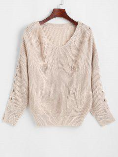 Grommet Lace-up Drop Shoulder Sweater - Light Pink