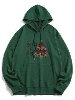 Christmas Tree Letters Printed Kangaroo Pocket Hoodie - Deep Green M