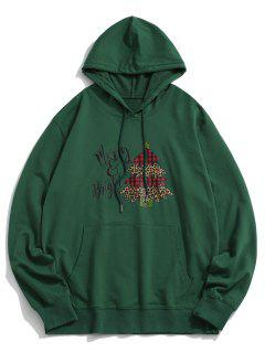 Christmas Tree Letters Printed Kangaroo Pocket Hoodie - Deep Green Xl