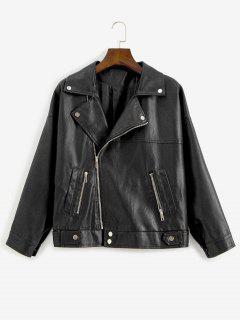 Reißverschluss Taschen Kunstleder Biker Jacke - Schwarz S