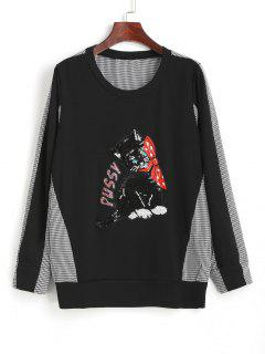 Gingham Sequined Cat Ribbed Sweatshirt - Black 2xl