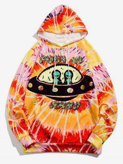 Sweat à Capuche UFO Géométrique Teinté Imprimé - Jaune Soleil 2xl