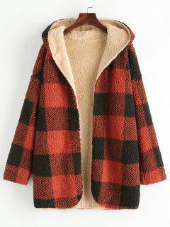 Manteau à Capuche Réversible Fourré à Carreaux - Rouge S