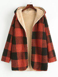 Hooded Checked Fluffy Borg Teddy Reversible Coat - Red M